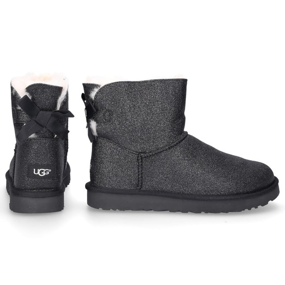 "Black Sparkly UGGS➖""Mini Bailey Bow"" style"